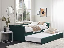 Trundle Bed Green Fabric Upholstery EU Single Size