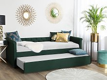 Trundle Bed Green Fabric Upholstery EU Small