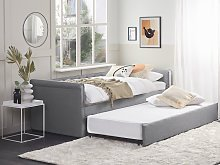 Trundle Bed Grey Fabric Upholstery EU Single Size