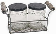 Tryer Vintage Farmhouse Rusty Zinc Two Jar Holder