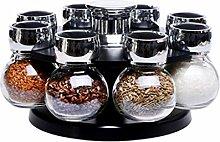 TSAR003 Glass Rotating Spice Jar Condiment Box Set