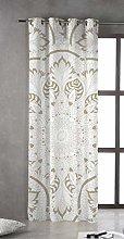 Tsuki Curtain, Texture, White, Brown, Single