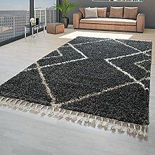 TT Home Deep-Pile Rug Grey Fringes Living Room