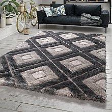TT Home Deep-Pile Rug Grey Living Room Grey Shaggy