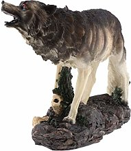 Tubayia Resin Wolf Sculpture with Solar Lamp for