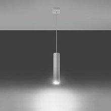 Tube hanging light, white, one-bulb
