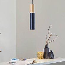 Tube hanging light, wood, black, one-bulb