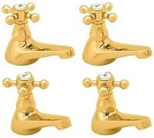 Tudor Basin Taps and Bath Taps, Gold - Deva