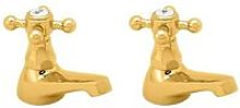 Tudor Traditional Basin Taps Pair - Gold - Deva
