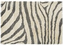 Tufted rug in wool with ecru and black zebra print