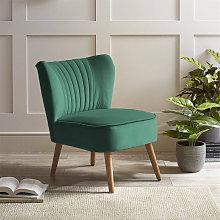 Tufted Velvet Leisure Chair Single Sofa, Dark Green