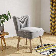 Tufted Velvet Leisure Chair Single Sofa, Grey