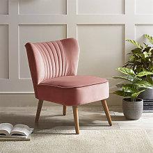 Tufted Velvet Leisure Chair Single Sofa, Pink