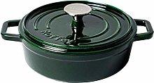 TUHFG Ceramic cooking pot Dark Green Enamel Cast