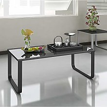 TUKAILAI Black Glass Coffee Table 6mm Tempered