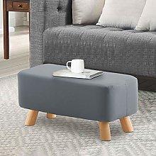 TUKAILAI Grey Faux Leather Footstool Ottoman