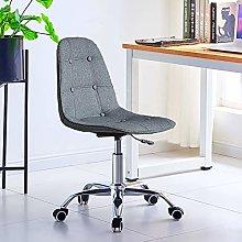 TUKAILAI Grey Linen Fabric Desk Chair for Home