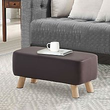 TUKAILAI Upholstered Brown Faux Leather Footstool