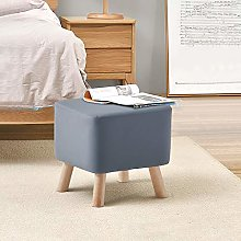 TUKAILAI Upholstered Grey Faux Leather Footstool