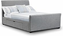 Tulip Fabric Bed With Storage Units Light Grey