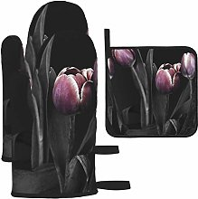Tulips Spring Pink Black And White Oven Mitts and