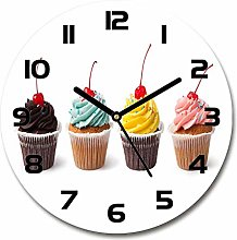 Tulup Glass Wall Clock 30cm Round Decoration