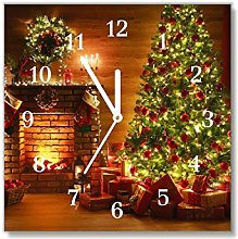 Tulup - Glass Wall Clock - 30x30cm - White Hands -