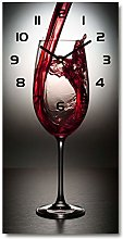 Tulup Wall clock silent glass clock 30x60 cm red