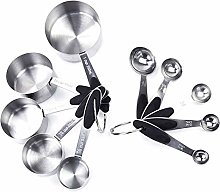Tuneway 10pcs/set Stainless Steel Measuring Cups