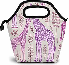 TUOFUBAGS Giraffes In Pink And Purple Reusable