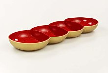 Tupperware Allegra Pearl Red Gold Serving Bowl