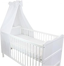TupTam Baby Cot Canopy with Crown and Bow, White,