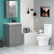 Turin 500mm Indigo Grey Gloss 2 Door Vanity Unit