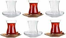 Turkish Tea Glasses Cups & Saucers Set, Set of 6