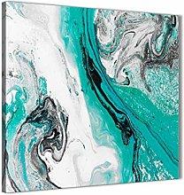 Turquoise and Grey Swirl Bathroom Canvas Wall Art