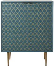 Turquoise Blue 2-Door Sideboard with Gold Graphic