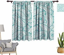 Turquoise Decor Window Curtains, Abstract Pattern
