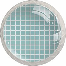 Turquoise Grid Plaid Pattern Kitchen Cabinet Knobs