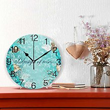 Turquoise Rose Flowers Design Round Wall Clock,