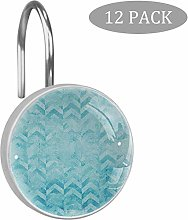 Turquoise Shower Curtain Hooks, Geometric Design