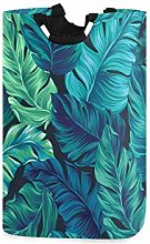 Turquoise Tropical Palm Leaves Large Laundry