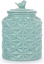 Turquoise Vintage Ceramic Kitchen Flour Canister /