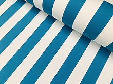 Turquoise & White Striped DRALON Outdoor Fabric