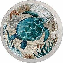 Turtle Sea World 4PCS Round Shape Cabinet Knobs
