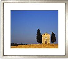 Tuscan Chapel Framed Print & Mount, 58 x 73cm, Blue