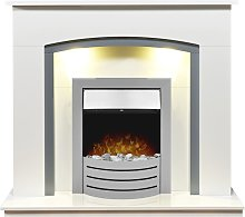 Tuscany Fireplace in Pure White & Grey with Comet