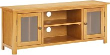 TV Cabinet 120x35x48 cm Solid Oak Wood - Brown