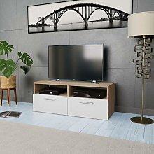 TV Cabinet Chipboard 95x35x36 cm Oak and White