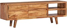 TV Cabinet Solid Acacia Wood with Carved Doors