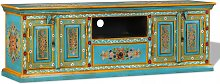 TV Cabinet Solid Mango Wood Blue Hand Painted -